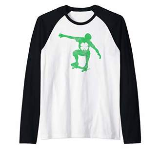 St. Patrick's Day Green Shamrock Skateboard Irish Skater Raglan Baseball Tee