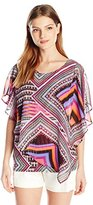 Notations Women's Printed 2 Fer Poncho with Matching Tank Inset