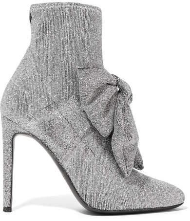 Giuseppe Zanotti Natalie Embellished Glittered Stretch-knit Sock Boots - Silver