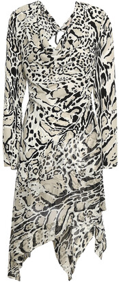Roberto Cavalli Embellished Cutout Leopard-print Silk Crepe De Chine Mini Dress