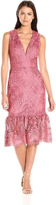 Nicole Miller Women's Evalina Scalloped Lace V Neck Sleeveless Dress