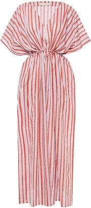 Vanessa Bruno Loralie Metallic-trimmed Gathered Striped Cotton-blend Kaftan