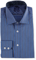 English Laundry Striped Long-Sleeve Dress Shirt, Navy