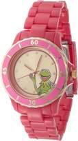 Muppets Women's Kermit Sunray Dial Fuschia Plastic Bracelet Watch White MU2051
