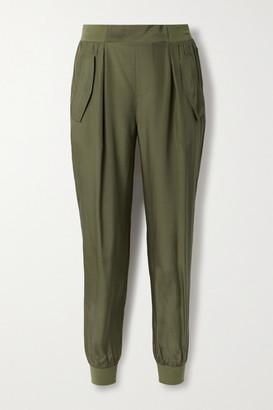 ATM Anthony Thomas Melillo Silk-charmeuse Track Pants - Army green