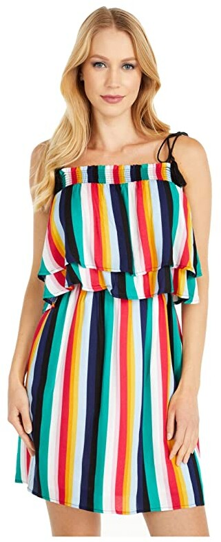 BB Dakota Rainbow Stripe Printed Rayon Crepe Layered Dress with Shoulder Ties (Multi Stripe) Women's Clothing