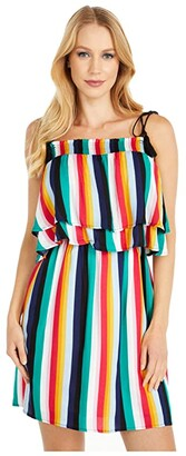 BB Dakota Rainbow Stripe Printed Rayon Crepe Layered Dress with Shoulder Ties (Multi Stripe) Women's Clothing