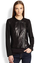 Ella Moss Nika Faux Leather-Trimmed Sequin-Paneled Jacket
