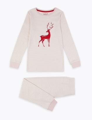 Marks and Spencer Cotton Striped Deer Print Pyjama Set (1-16 Years)