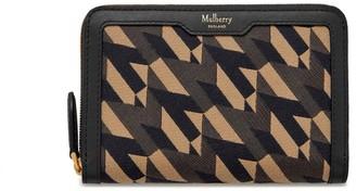 Mulberry Medium Zip Around Wallet Black M Jacquard