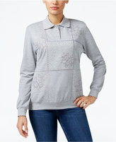 Alfred Dunner Patchwork Embroidered Sweater, Only at Macy's