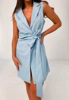 Missguided Blue Sleeveless Tie Front Blazer Dress