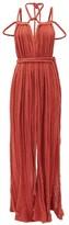 Kasia Kulenty - Aphrodite Braided-tie Cotton-gauze Maxi Dress - Womens - Rust