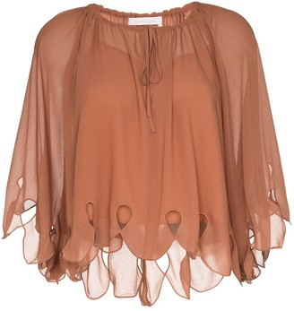 See by Chloe scalloped tie-neck blouse