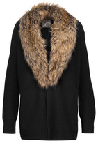 Joie Evina Faux Fur-Trimmed Wool And Cashmere-Blend Cardigan