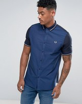 Fred Perry Slim Fit Mixed Weave Shirt Navy