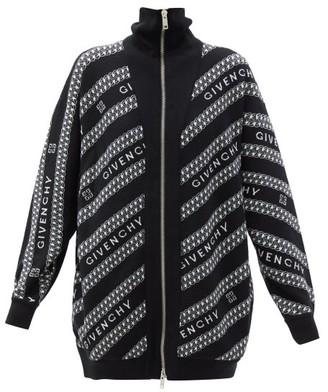 Givenchy Chain Logo-jacquard High-neck Zipped Wool Cardigan - Black White
