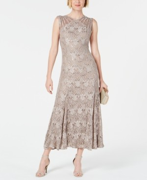 R & M Richards Petite Sequin Lace Gown