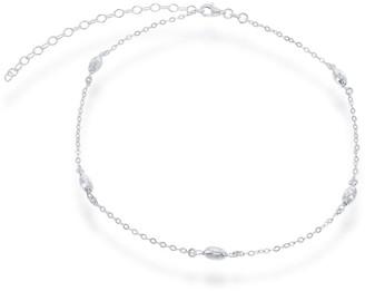 La Preciosa Sterling Silver Diamond-cut Oval Moon-bead Choker