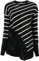 Nude striped asymmetric knit blouse - women - Wool/Silk - 40