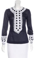 Tory Burch Embroidered Long Sleeve Blouse