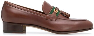 Gucci Web and Interlocking G almond-toe loafers