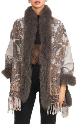 Gorski Reverse Double Faced Cashmere Stole w/ Fox Fur Trim