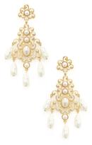 Kenneth Jay Lane Filagree Pearl Chandelier Earrings