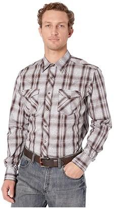 Wrangler Retro Premium Long Sleeve Snap Plaid Overprint (Brown/Light Blue) Men's Long Sleeve Button Up