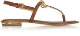 Michael Kors Luggage Leather Suki Lock Charm Thong Sandal