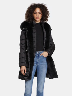 Dawn Levy Jetsetter Fitted Puffer Coat with Fox Fur Trim