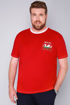 Yours Clothing BadRhino Red Short Sleeve T-Shirt With Wales Emblem
