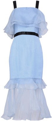 True Decadence Light Blue Organza Overlay Midi Dress
