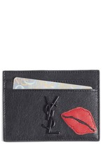 Saint Laurent Women's Applique Lips Leather Card Holder - Grey