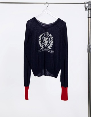 Tommy Hilfiger Collections crest logo fine knit sweater in navy