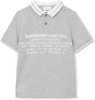 BURBERRY KIDS Location Print Polo Shirt