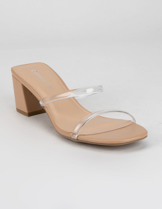City Classified Clear Two Strap Womens Nude Heels