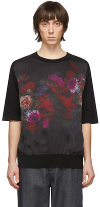 Dries Van Noten Black Merino Floral Print T-Shirt