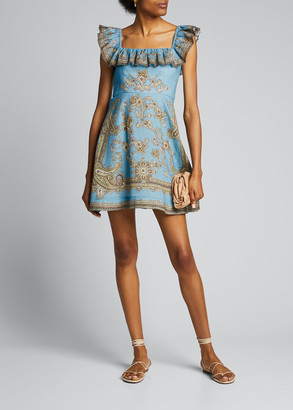 Zimmermann Fiesta Ruffle-Neck Short Dress