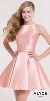 Alyce Paris Keyhole Open Back Fit and Flare Mikado Homecoming Dress
