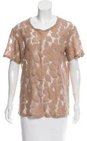 Elizabeth and James Guipure Lace Embroidered Top