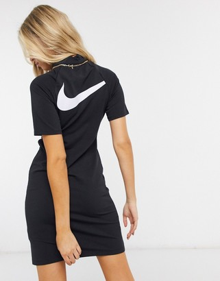 Nike Swoosh high-neck dress with kimono sleeves in black