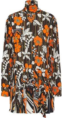 Prada Floral Mini Jersey Dress