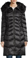 T Tahari Emma Hooded Down Chevron Coat, Ebony