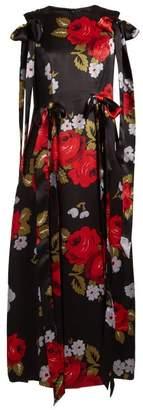 Simone Rocha Bow-trim Floral-print Silk-satin Dress - Womens - Black Multi