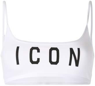 DSQUARED2 Icon print sports bra