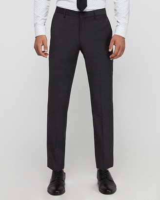 Express Extra Slim Charcoal Wool Blend Wrinkle-Resistant Performance Suit Pant