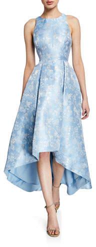 Aidan Mattox Printed Jacquard High-Low Sleeveless Gown