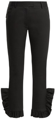 Preen Line Kala Ruffle-trimmed Skinny Stretch-cotton Trousers - Womens - Black