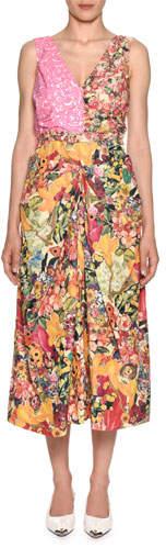 Marni Sleeveless V-Neck Mixed-Print A-Line Midi Dress